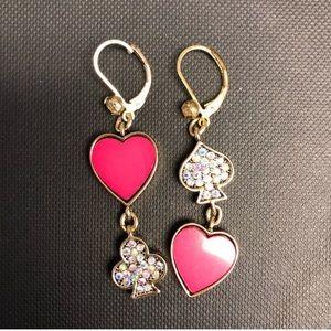 Earrings Heart Spade Club Sequins Pink Gold Hang